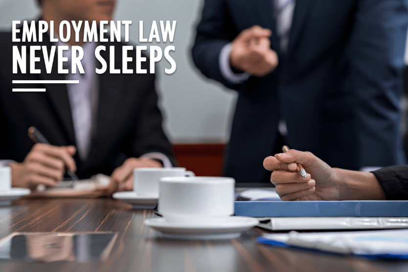 Businessmen meet around of table with coffees. This leads to the Employment Law Never Sleeps Blog
